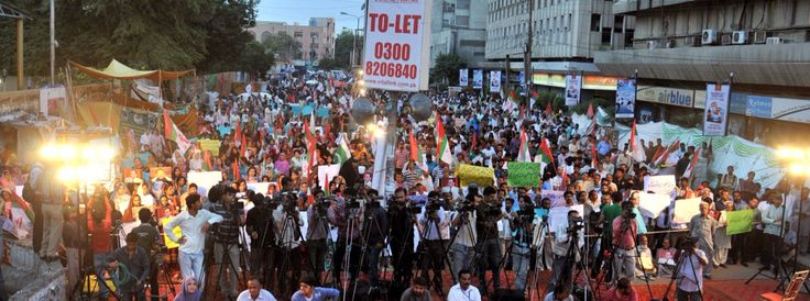 Protestors gathered outside Karachi Press Club after announcement of a high court decision that ban TV channels and News Papers from publishing / airing its leaders picture on media