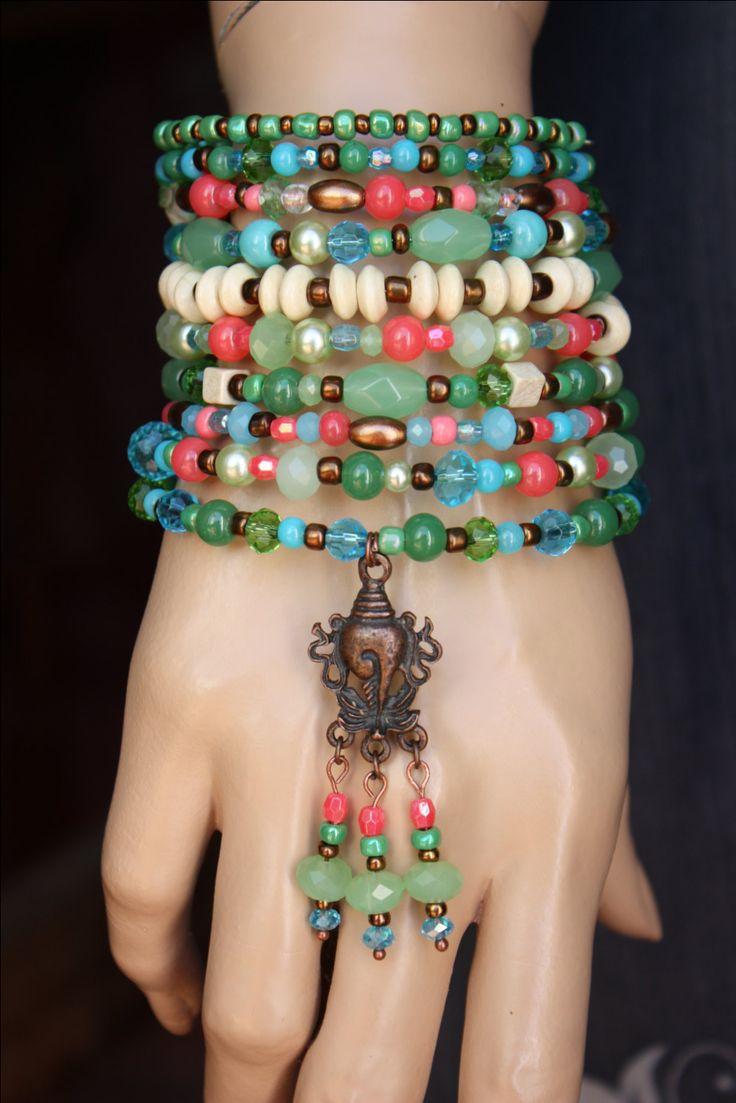 Ten Wrap Gypsy Memory Wire Beaded BraceletBoho от monroejewelry