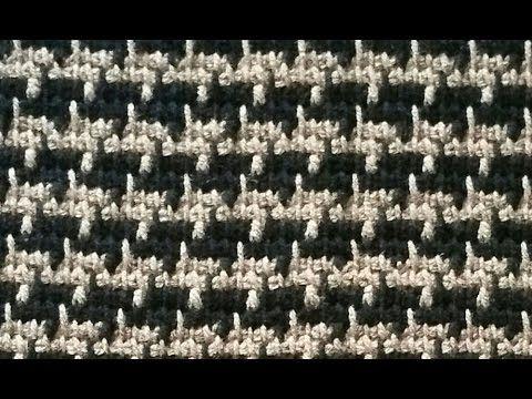 """Sploty tunezyjskie - fałszywy żakard czyli """"houndstooth stitch"""" - YouTube"""