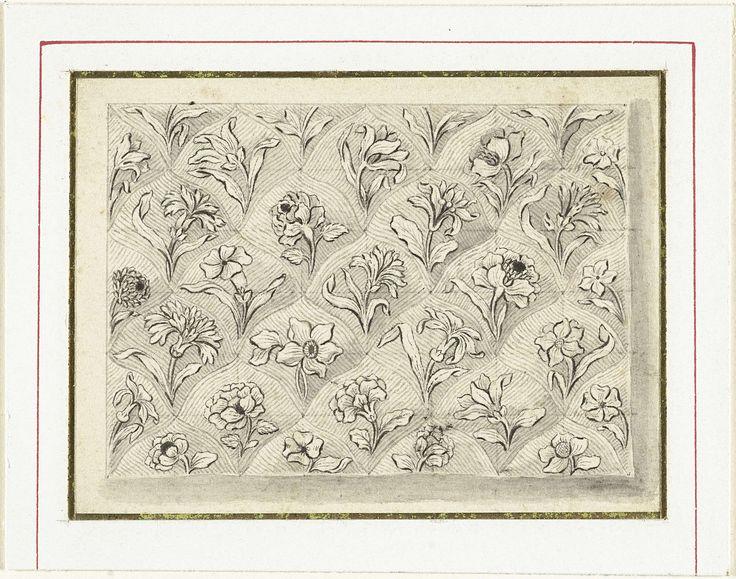 Patroon van ruitvormige vlakken met bloemen, Jacques Vauquer, 1631 - 1686