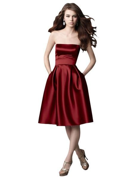 Elliot Claire Cherry Red Strapless A Line Evening Dress