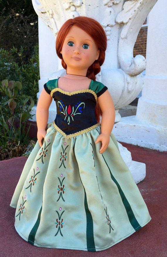 Doll Clothes Elsa and Anna Princess Costumes For 18 Inch American Girl Doll