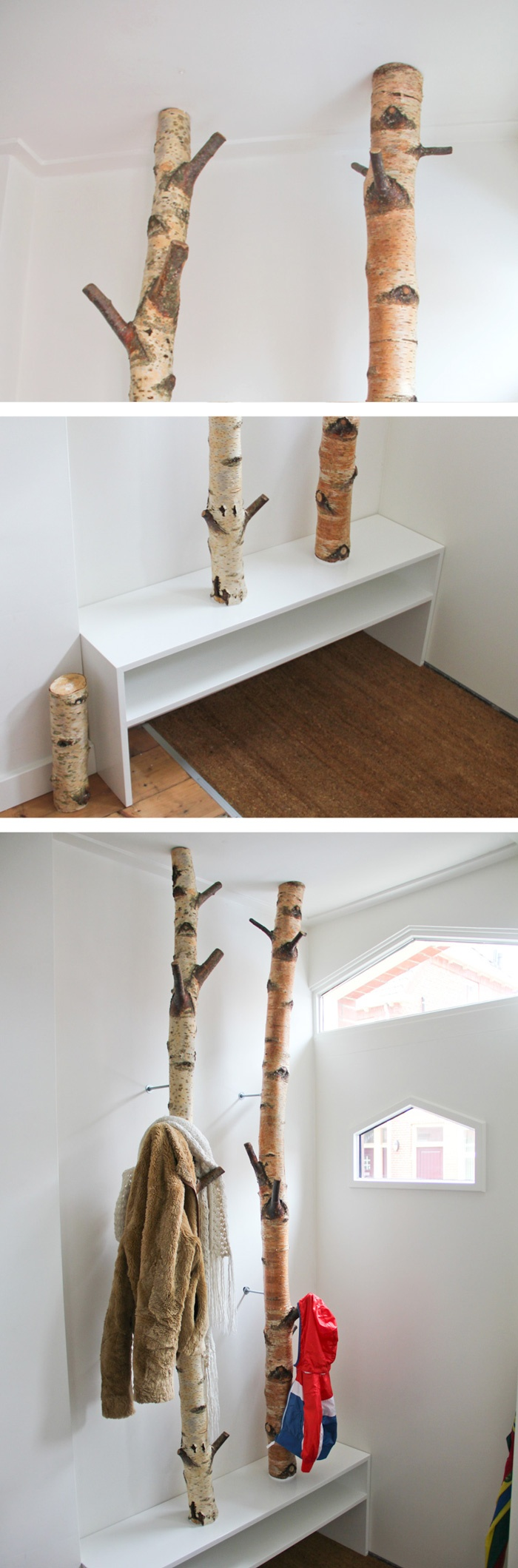 A Coat Rack Made From Two Birch Trees