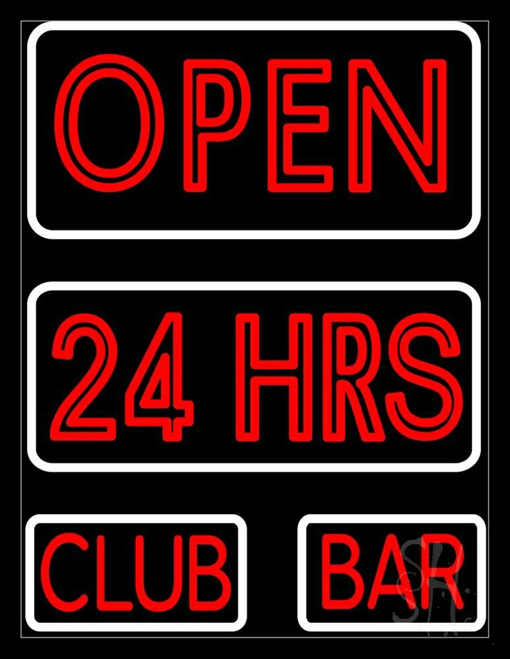Open 24 Hours Club Bar Neon Sign 31 Tall x 24 Wide x 3 Deep, is 100% Handcrafted with Real Glass Tube Neon Sign. !!! Made in USA !!!  Colors on the sign are Red and White. Open 24 Hours Club Bar Neon Sign is high impact, eye catching, real glass tube neon sign. This characteristic glow can attract customers like nothing else, virtually burning your identity into the minds of potential and future customers.