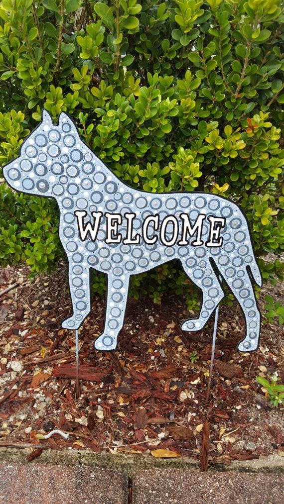 Pit Bull  Welcome Sign Yard Stake, Metal Art,  Sign, Pitt Bull Yard Art…