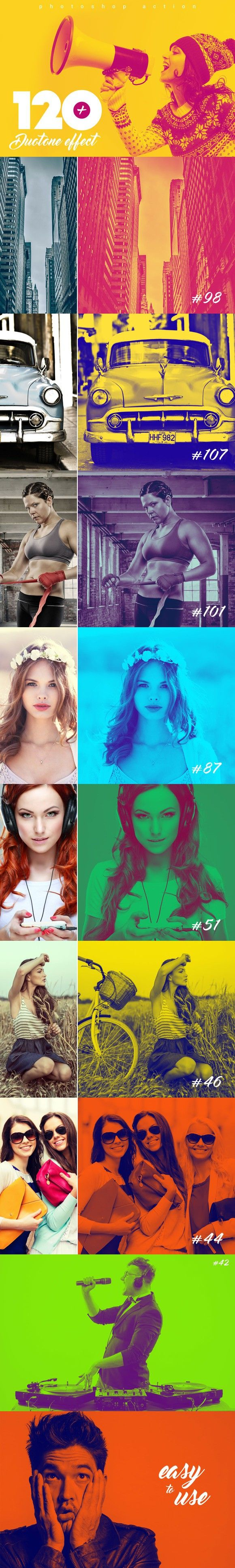 120+ Duotone Effects V.1. Photo Effect Photoshop Actions. $15.00