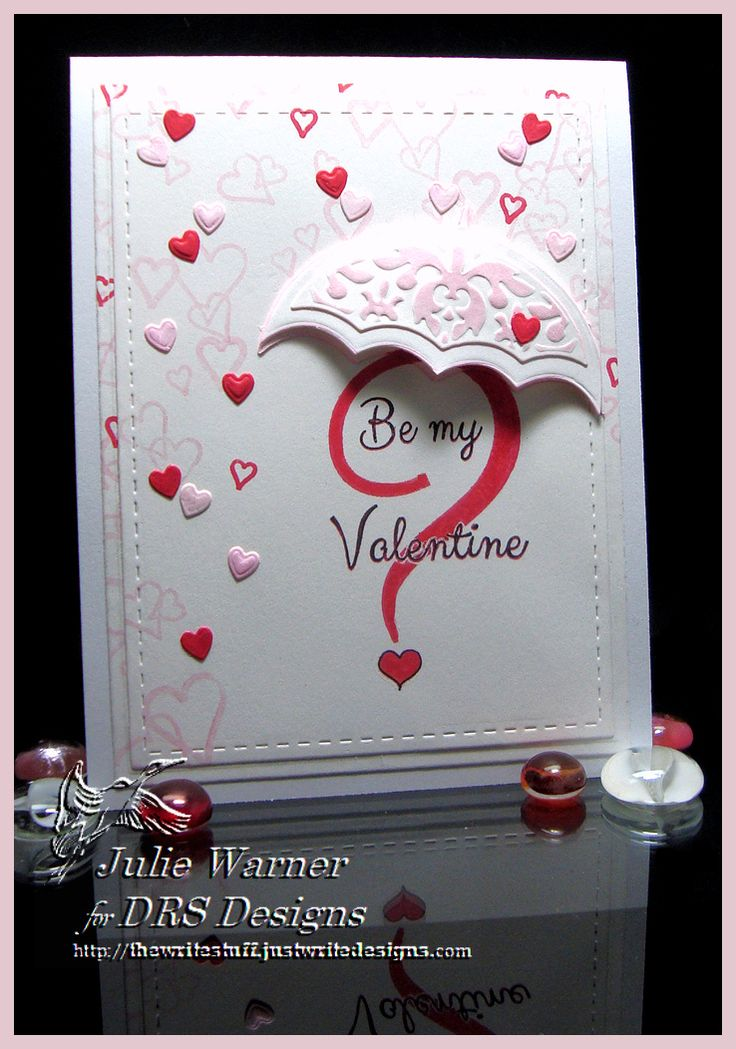 Card by Julie Warner (010916) [(dies) Lil' Inkers Stitched Rectangles, Our Daily Bread Umbrella, Spellbinders A2 Matting Basics B; (stamps) DRS Designs Be My Valentine, Interlocking Hearts Bg]