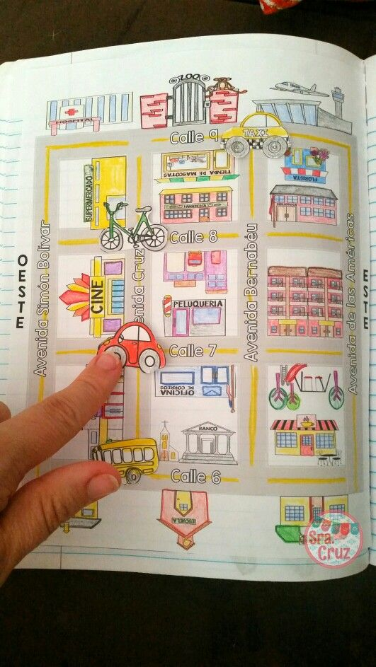 La Ciudad Spanish interactive notebook activities - for practicing city vocabulary, transportation, ir + location, prepositions of location, formal and informal commands, and giving directions. Includes 10 different activities to use with the interactive map.