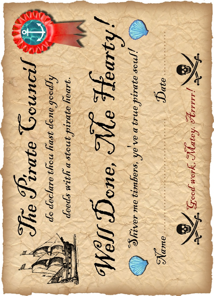 @Nicole Novembrino Soto Printable pirate certificate saying well done