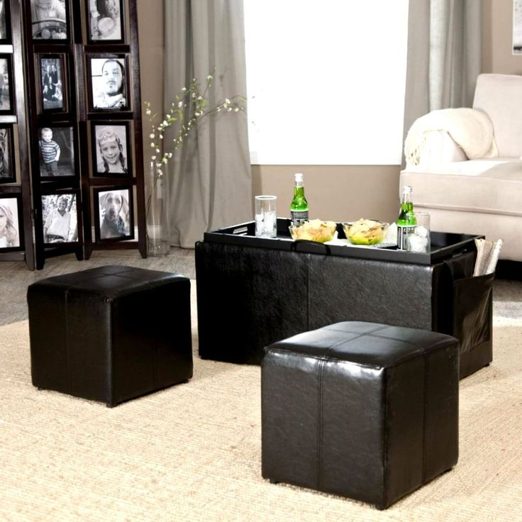Coffee Table Ottoman Set Dining Storage Space with Tray Side Seats Furniture NEW #Linon