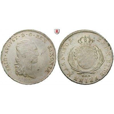 Sachsen, Königreich Sachsen, Friedrich August I., Konventionstaler 1808, vz+: Friedrich August I. 1806-1827. Konventionstaler 1808… #coins
