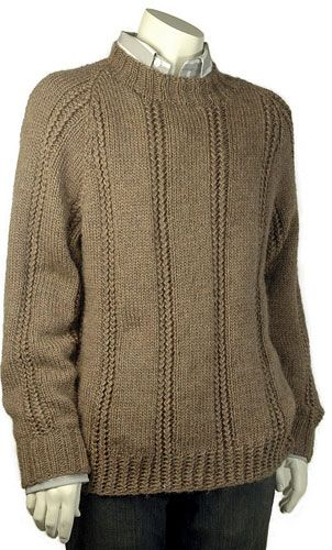 """Dan, knit in Berroco Peruvia® has the handsome clean lines of a raglan pullover with panels of stockinette punctuated by equidistant vertical bands of twisted stitch ribbing. Shown in size Large Sizes Directions are for men's size X-Small. Changes for sizes Small, Medium, Large and X-Large are in parentheses. Finished Measurements Chest – 36(40-44-48-52)"""" Length – 25(25 1/2-26-26 1/2-27)"""" Materials 7(8-9-10-11) Hanks Berroco Peruvia (100 grs), #7105 Prairie Dog"""