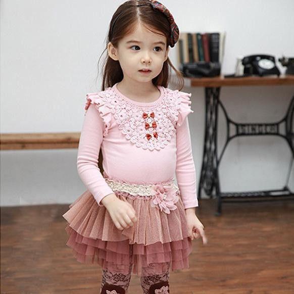 New! Little Girls Lace Ruffled Shirt and Skirt