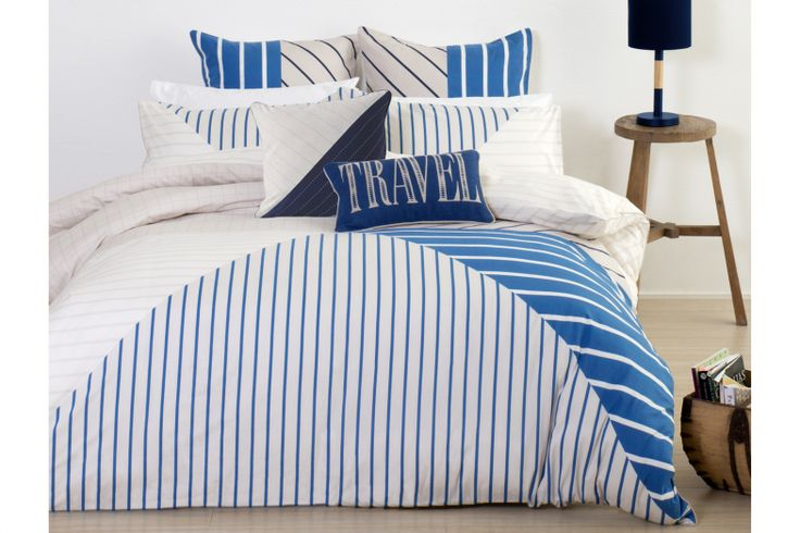 Fresh, crisp marine style stripes bedeck this modern Scout Duvet Cover Set from Nu Edition.