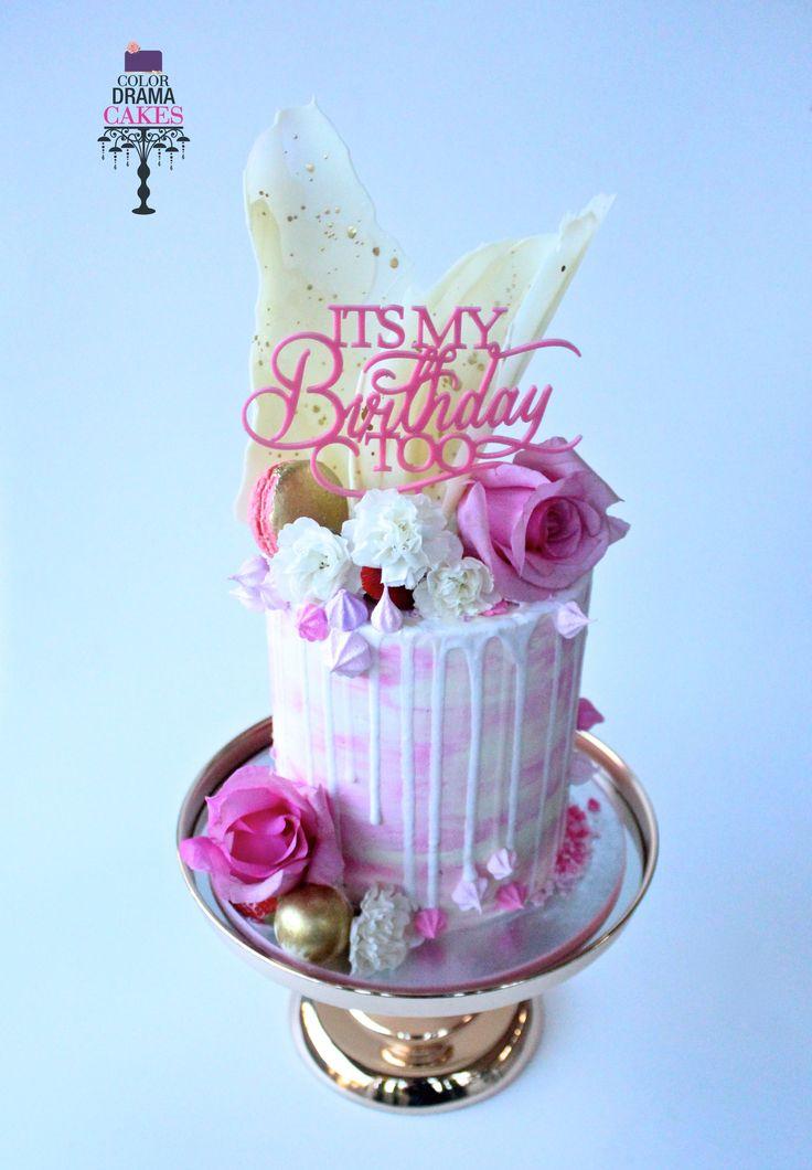Pink and White drip cake.  Chocolate shards, Fresh flower cake