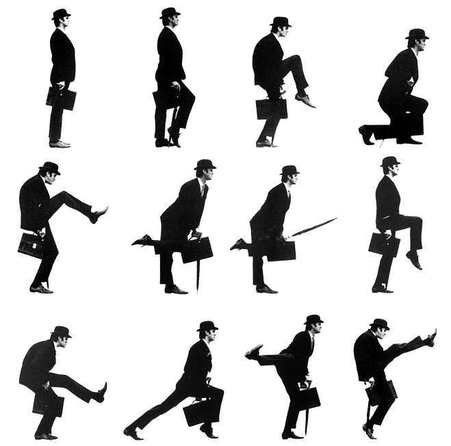 Monty Python... :)  Ministry of Silly Walks. You havent lived until you have made up your own silly walk
