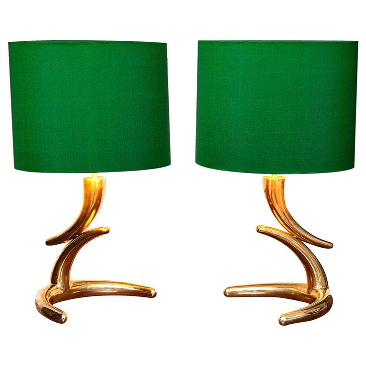Pair Of French Brass Table Lamps In The Style Of Philippe Hiquily, Circa  1970 For