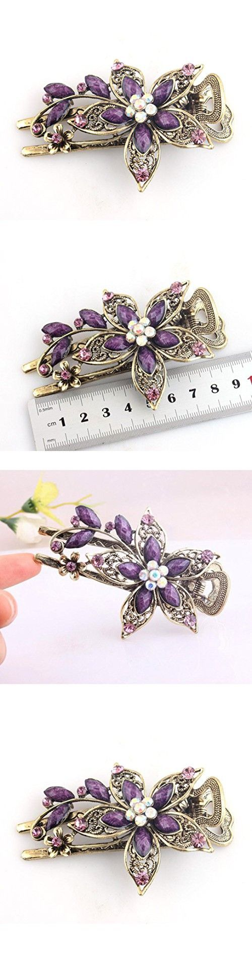 Tinksky Hair Clips Hair Pin Bridal Hair Accessories Wedding Crystal Decor Hair Comb Clip(Purple)