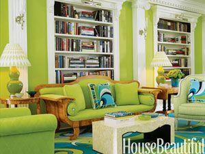 vibrant green living room