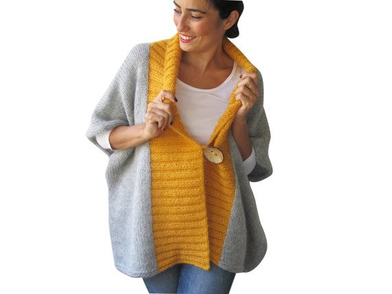 NEW - Light Gray - Yellow Mohair Cardigan with Big Coconut Button by Afra Plus Size Over Size on Etsy, 93,63€