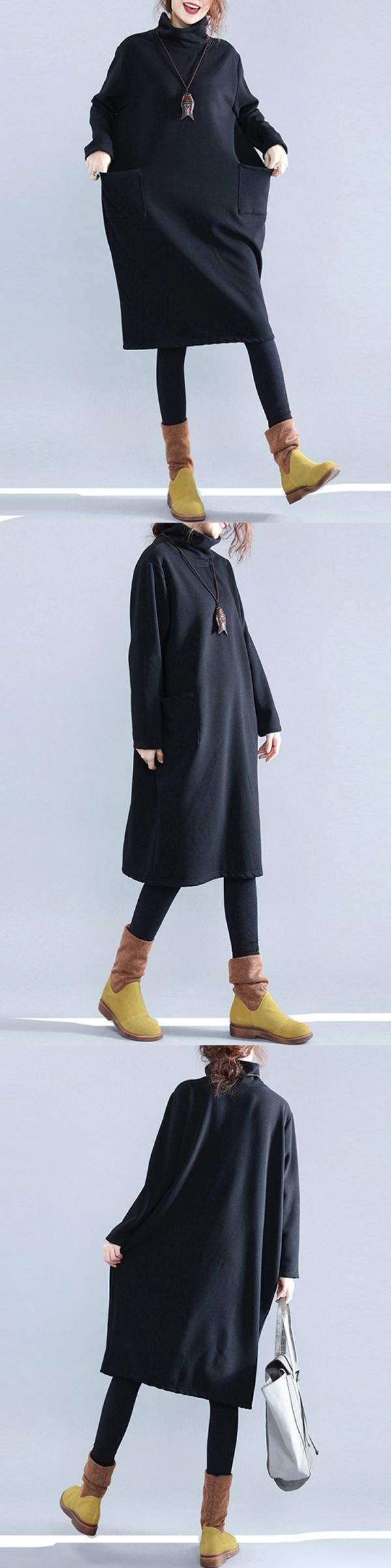 Casual dresses hijab casual women pure color turtleneck pockets long sleeve dresses #casual #dresses #korean #style #casual #dresses #near #me #casual #dresses #royal #blue #jlo #casual #dresses