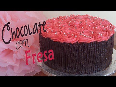 Tarta de chocolate con fresa receta fácil - YouTube