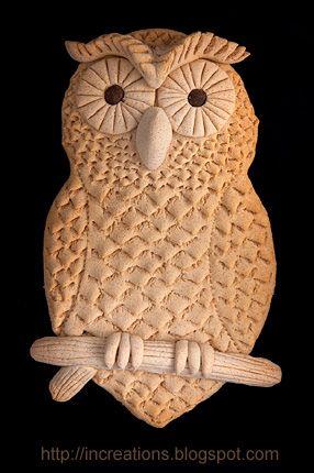 Salt dough - make beads, make wall hangings like this owl. Baked dough by Innas…