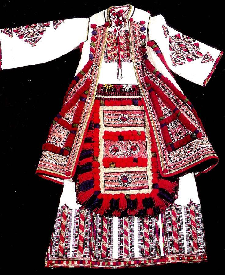"""Koshula "", young woman's dress   ""Kurddija""  woman's long waist coat   ""Vuta"" bridal apron   Skopska Blatija   Museum of Macedonia"