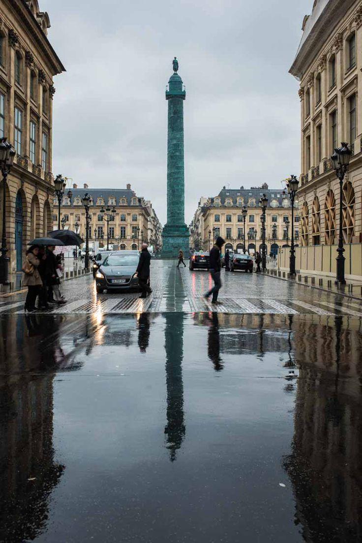 Rainy Paris, Place Vendome by Ángel Robles. Travel photography.