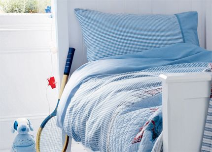 Blue Gingham Cotton Duvet Set Perfect for any boys room, our versatile soft blue gingham cotton duvet set features contrast chambray trim is made from 100% cotton.