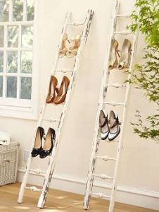 A wooden Shoe Ladder is an unconventional shoe storage.