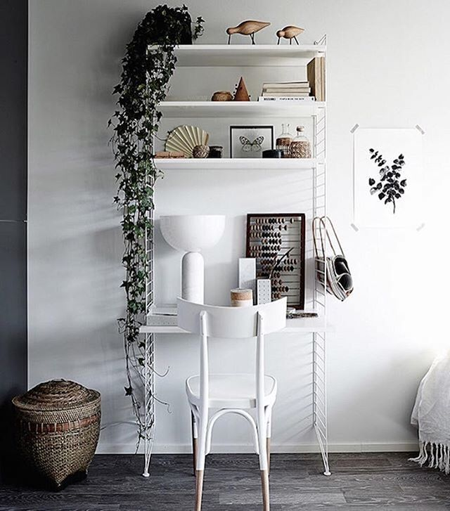 String shelfie #workspacegoals + regram from @laurajuulia in Finland ☁️☁️ ( by @krista_keltanen)✨ We just spotted this beauty of a workspace on the @myscandinavianhome feed This stunning shelf workspace was created by interior stylist Laura for a project she did with @yitkoti. Plenty of storage + style here with the @stringfurniture system + that crazy beautiful chair Thanks Laura for showing us how to do workspace shelfies in style