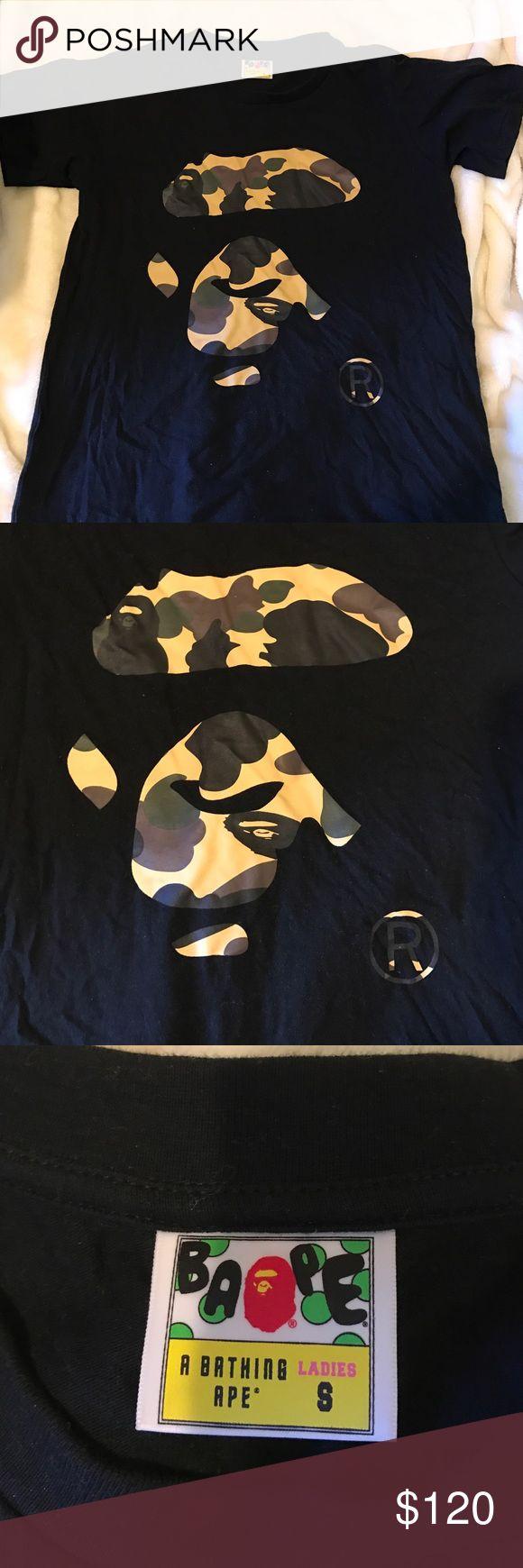 Bape Shirt Women Authentic Bape Shirt Black and Camo Tops Tees - Short Sleeve