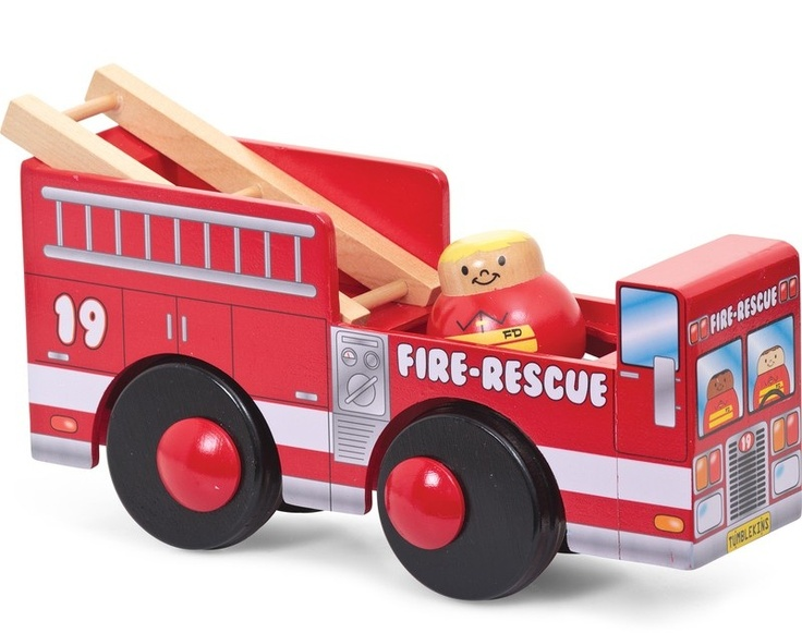 Roll to the rescue! The Tumblekins Fire Engine spins the driver as it drives forward. What's more, place him at the top of the ladder and he'll roll down into the seat, ready for action.