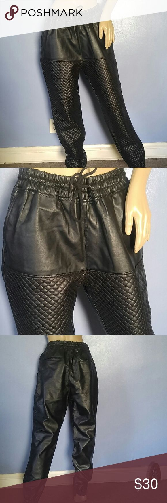"""Sale🌟 Vegan Leather Jogger Pants  Quilted Design. Unisex Vegan Leather Jogger Pants  Quilted Design. Beautiful Condition! Drawstring Waist. 2 Front Pockets 2 Back Pockets. Loose Fit. Fits Mens : Large Fits Womens: XL Elastic Leg and Waist. Waist Stretches to 40"""" Total Length: 41"""" M.O. Seven Pants"""