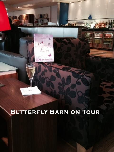http://www.karenpowerauthor.com/ Butterfly Barn in the business lounge at Gatwick. - relaxing.