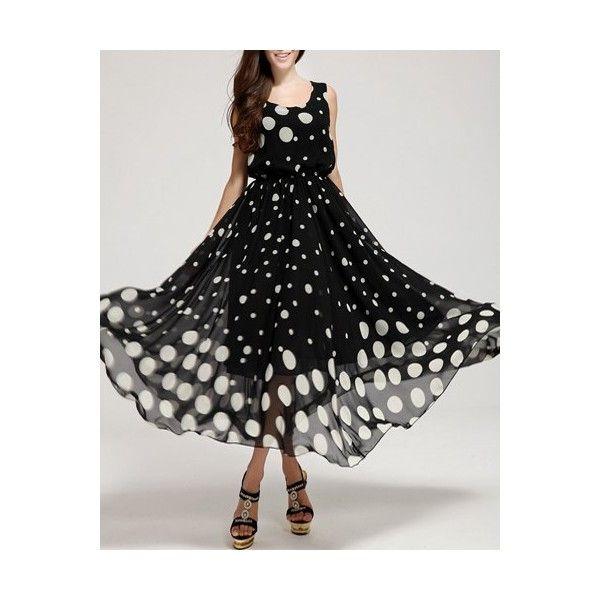 Sleeveless Polka Dot Print Elastic Waist Long Flowing Sundress ($27) ❤ liked on Polyvore featuring dresses, polka dot dresses, long dresses, long sun dresses, sleeveless dress and no sleeve dress
