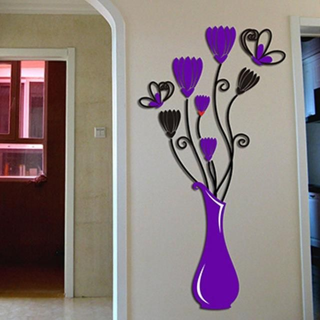 3D Flower Vase Wall Stickers Acrylic
