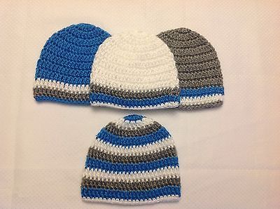 Newborn Baby Boy Blue White Gray Crochet Beanie Hat Shower Gift Set 4 Handmade