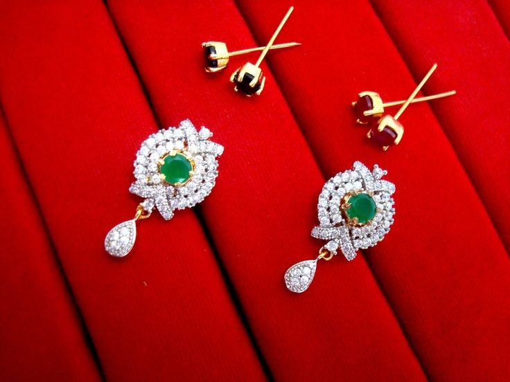 Daphne Six In One Changeable Zircon Earrings for Raksha Bandhan Return Gift - Green