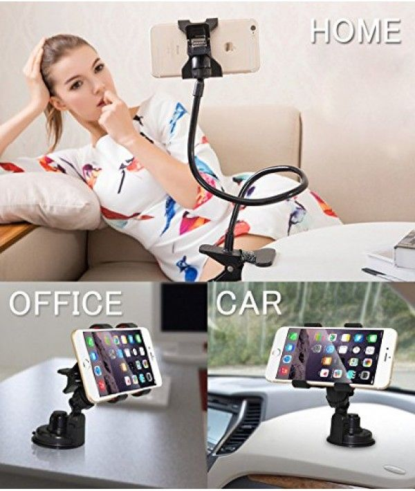 BESTEK 2-In-1 Universal Gooseneck Flexible Cell Phone Clip Holder +Suction Clamp Mount Devoted to designing a Cell Phone Clip Holder Stand securely fitted to all types of desks, beds, and other surfaces.  • Designed with superior quality parts with professional customer service  Good to Know: with 18 Months Warranty and Friendly, Easy-to-Reach Support