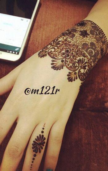 Mahendi design on wrist