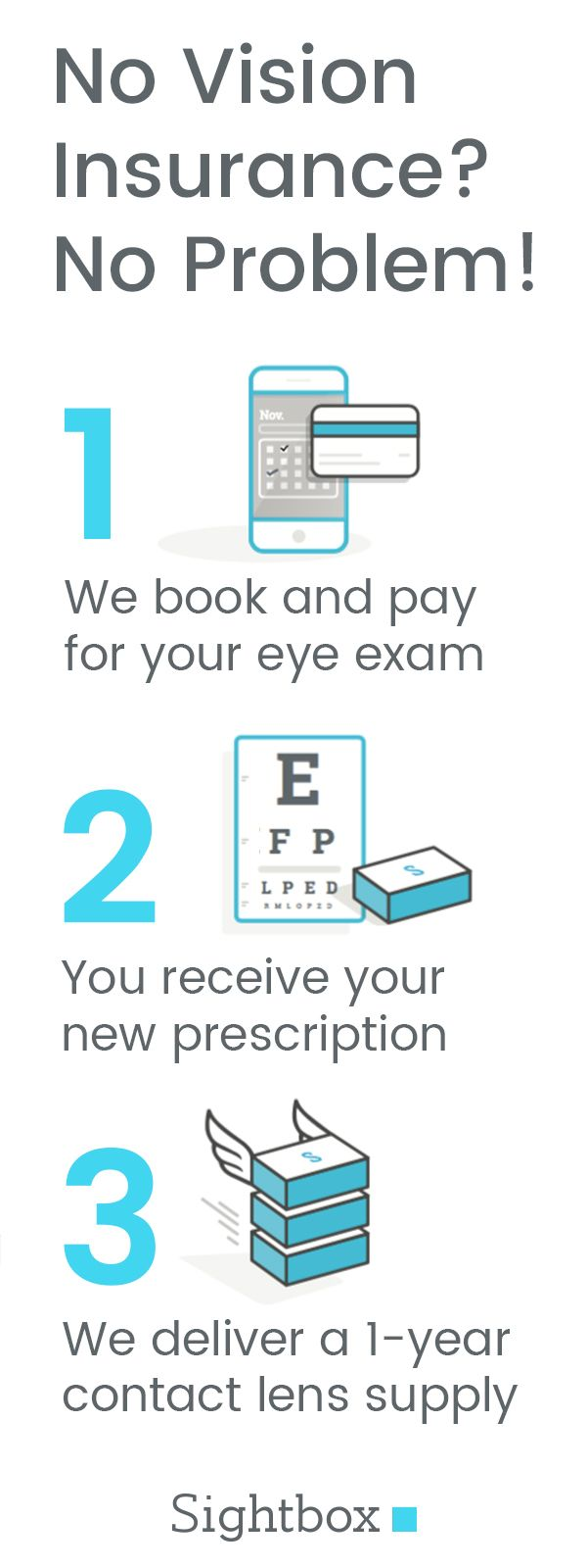 Wear contacts? We book and pay for your eye exam, then deliver a 1-year supply of contact lenses. All for $39 per month. Astigmatism lenses too!