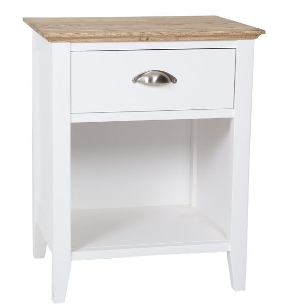 New England 1 Drawer Bedside Table White with Butcherblock Top
