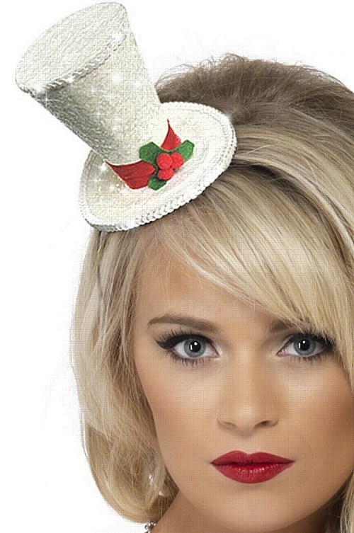 White Christmas Top Hat on Headband