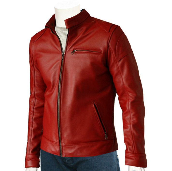 Buy Men's Red Leather Biker Jacket, stylish design, zipper pockets in elegant red. Made from original cowhide leather ideal for riding and casual wear.