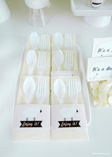 Peach Little Lamb Baby Shower white cutlery set