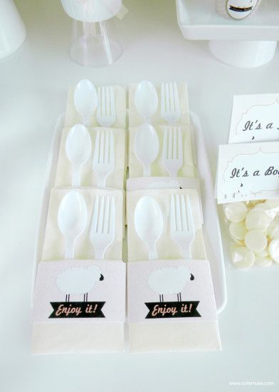 Peach Little Lamb Baby Shower white cutlery set
