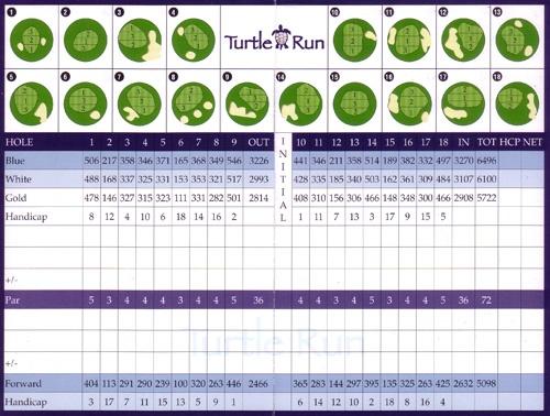 Sun 'N Lake Golf Club  Carte de pointage du Turtle run
