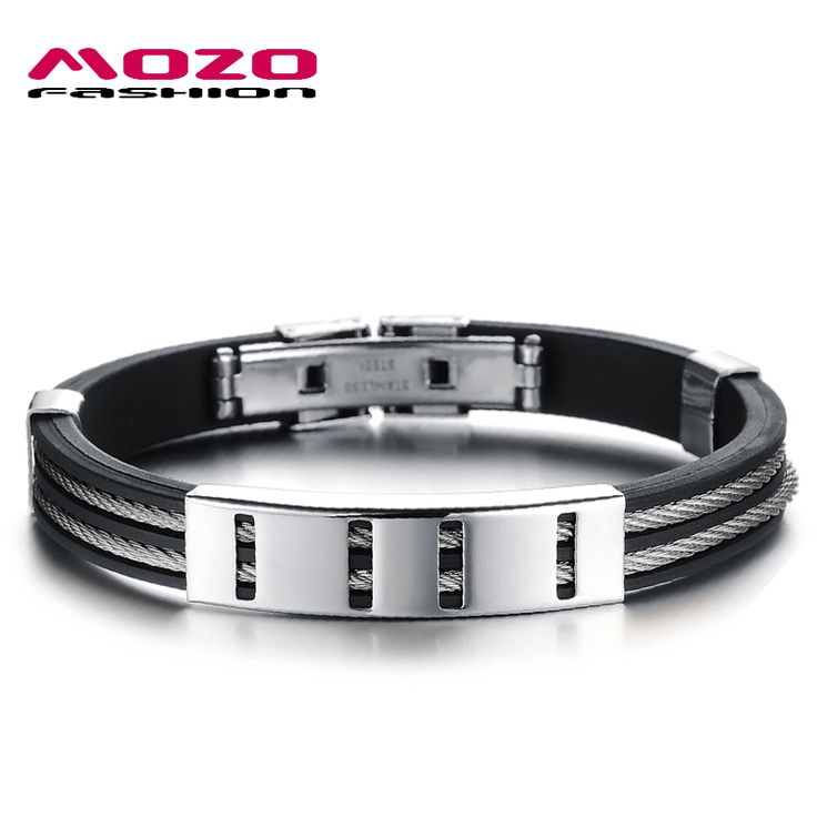 MOZO FASHION Man Punk Jewelry Simple Design Gold/Silver Stainless Steel Wire Rope Silicone Rubber Wristbands Men Bracelet MPH841